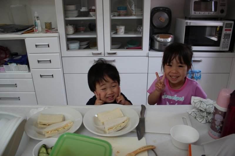 お子さんがサンドイッチを作ってくれました