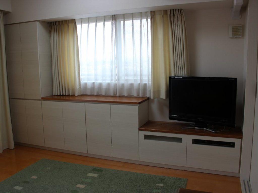 海老名市のお客様からカウンター収納兼テレビボードのご注文です。オーダー家具円山工芸